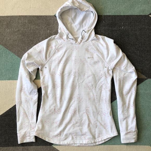 Nike Tops - Nike white print running pullover